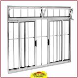 janela de alumínio branco com grade